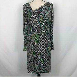 KAY UNGER NEW YORK LONG SLEEVE RUCHED DRESS Sz 10